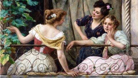 Stefano Novo, Conversazione al balcone, Olio su tela, 52x74 cm