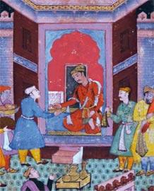 Akbar riceve gli omaggi 1590 Inchiostro, acquerello opaco e oro su carta ,21,5 x 15,5 cm New Delhi, National Museum