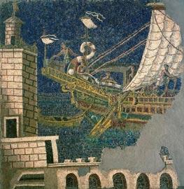 Mosaico policromo con nave e faro