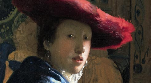 Johannes Vermeer, Girl with a Red Hat, 1665/1667 ca., Olio su tela, 23.2 x 18.1 cm, National Gallery of Art, Washington