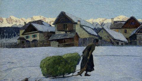 Carlo Fornara, Ultimi raggi, Olio su tela, 70 x 100 cm, Collezione privata