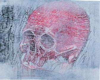 Nicolas Maldague, Memento mori, gravure monotypée, 2012, mm. 182x244
