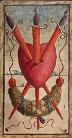 Nicola di maestro Antonio, 3 di spade, 1490 ca, stampa su carta pressata e incollata a formare un cartoncino, miniata a colori e oro 14,4x7,8 cm