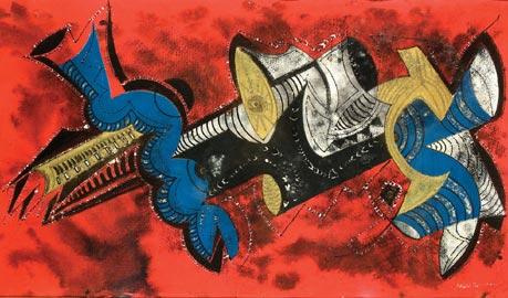 Ida im Traum_1984_tempera e pastello su cartone graffiato_cm84x150