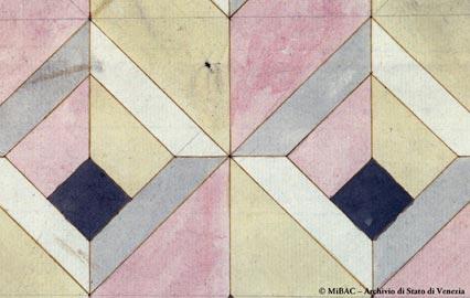 Mosaico per terra a motivi geometrici per la basilica di San Marco, dettaglio, sec. XVIII