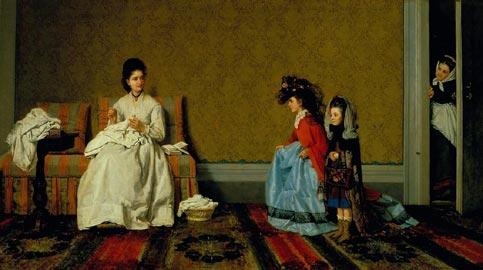 Silvestro Lega, Le Bambine che fanno la signore, 1872, olio su tela, cm 60x110, Viareggio Istituto Matteucci