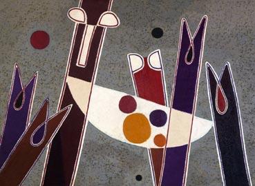 Heinrich Maria Davringhausen, Composizione astratta, 1963 ca, Olio su tavola, cm 132 x 180, Coll. Paolo Blendinger, Torricella