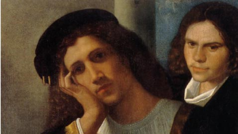 Giorgione, Doppio ritratto, 1502 circa, Italia, Roma, Museo Nazionale del Palazzo di Venezia, inv. PV.902,dipinto: olio su tela, dimensioni: (AxL) 80x75 cm, paticolare