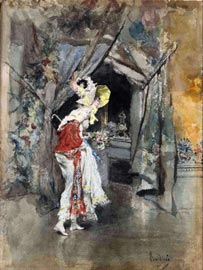 Giovanni Boldini Interno con figura elegante, 1873 circa Acquarello su carta, 320 x 230 mm