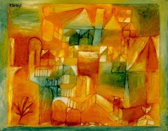 Paul Klee, Fasçsade Braun-grün, 1919, olio, matita e penna su carta su cartone dipinto, 24 x 31 cm, Kunstmuseum Basel, Donazione Dr. h.c. Richard Doetsch-Benziger, Basel 1939
