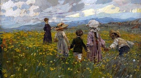 Ettore Tito, Prato in fiore (Bambini sull'altopiano di Asiago), 1901- Olio su tavola, 24,1x34,5 cm