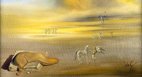 Salvador Dalì, Mostro molle in un paesaggio angelico, 1977, olio su tela, cm 76x101, Musei Vaticani, Città del Vaticano