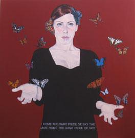 Barbara Bonfilio, Same home the same piece of sky #12 - Acrilico su tavola, 2013, 120x120 cm