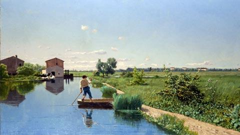 GUGLIELMO CIARDI, Mulino sul Sile, olio su tela, 50 x 98 cm