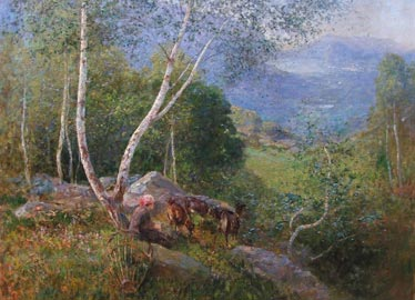 Gioachimo Galbusera: Paesaggio ticinese con sullo sfondo il lago di Lugano