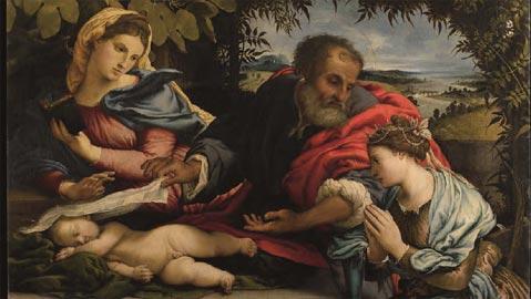 La Sacra Famiglia con Santa Caterina d'Alessandria, olio su tela, Bergamo, Accademia Carrara