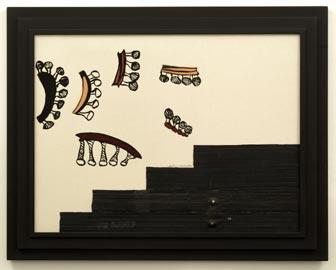 Carol Rama, Speculazioni, 2002, Olio e collage di camere d'aria di bicicletta su tela impressa, calcograficamente ad acquatinta, 60 x 80 cm