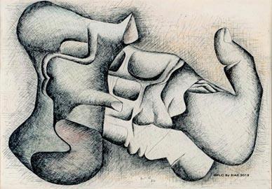 La mano e la selce_1950_inchiostri su carta_29x42cm_CFLC By SIAE 2013