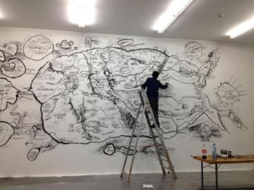 """Qiu Zhijie at work, Exhibition """"Blueprints"""", courtesy of Witte de With, Rotterdam 2012"""