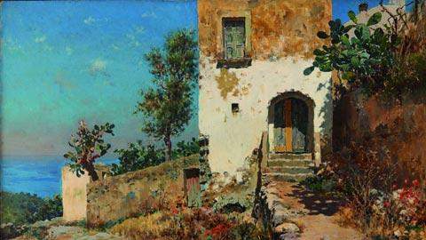 Antonino Leto, Case di Anacapri, 1910, olio su tela, © D'Aguanno/Civita Sicilia