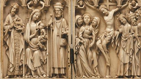 Manifattura francese, Dittico con la Madonna in trono allattante il Bambino tra San Giovanni Battista e San Giacomo il Maggiore e la Crocifissione, Seconda metà del XIV secolo, Avorio e metallo, San Pietroburgo, State Hermitage Museum,