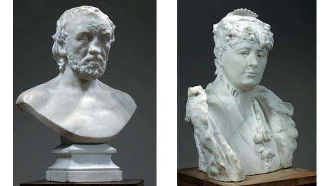 Auguste Rodin «L'uomo dal naso rotto» («L'Homme au nez cassé»), 1874-1875 Marmo, 44,8 x 41,5 x 23,9 cm. e «Busto di M.me Roll» («Buste de M.me Roll»), 1882-1883 Marmo, 57,5 x 50,5 x 34,1 cm.