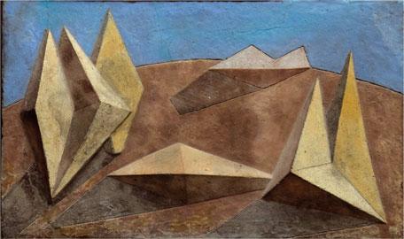 """Venturino Venturi, """"Elans dans l'espace"""", gesso policromo, 1949, 37 x 59, Archivio Venturino Venturi"""