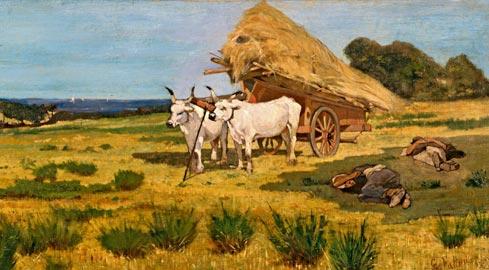 Giovanni Fattori, Riposo in Maremma, 1875 c., Olio su tela, 35 x 72,5 cm