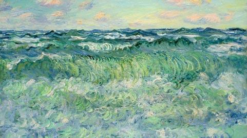 Claude Monet, Marine, Pourville (Marina, Pourville), 1881, olio su tela, 57 x 72,8 cm, Conservation Départemental du Patrimoine et des Museès – Abbaye de Flaran – Coll. Simonow