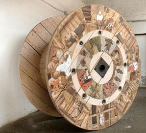 Adrian Paci, Secondo Pasolini (I Racconti di Canterbury), 2010, acrilico su bobina di legno