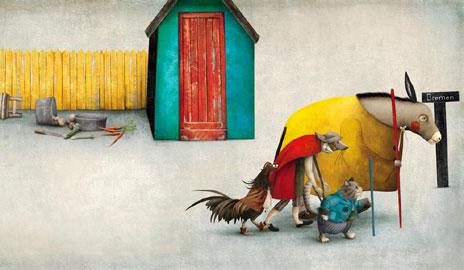 Illustrazione di Gabriel Pacheco da: Los cuatro amigos, Kalandraka, Pontevedra 2010