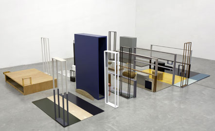 Nahum Tevet, Islands, 2012, Industrial paint on wood, cardboard and mirrors, 370 x 270 x 106 cm