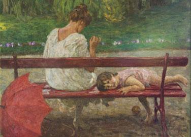 Luigi Rossi, Sulla panchina di Biolda, 1920-1922, olio su tela, 72 x 92 cm, Courtesy Galleria Bottegantica, Milano-Bologna