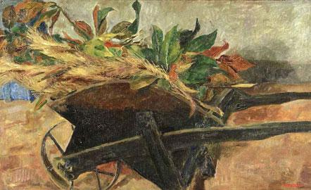 Fausto Pirandello: La carriola, 1944 ca., Olio su tavola, 45,5 x 75 cm
