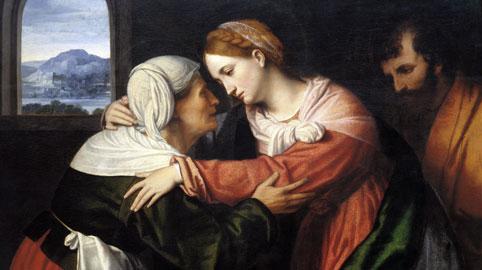Moretto da Brescia, La visitazione, olio su tavola, 66 x 91 cm