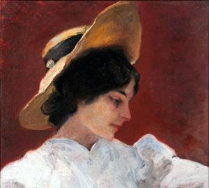 Pompeo Mariani, Il cappellino giallo, Olio su tela, 59,5 x 46 cm