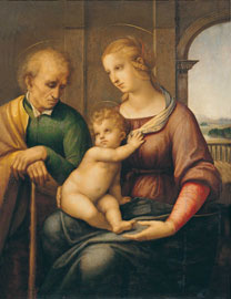 Raffaello Sanzio, Sacra Famiglia, Olio e tempera su tela, 72,5 x 56,5 cm.