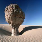 Sahara, Una roccia a forma di fungo, singolare risultato dell'erosione eolica, Tassili Ahaggar, Algeria 1993 © Kazuyoshi Nomachi