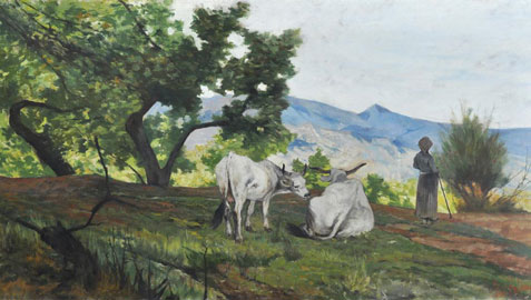 Giovanni Fattori, Paesaggio con buoi, 1890, olio su tela, cm 70x135