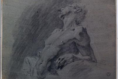 Gianbattista Piazzetta (ambito di) (Venezia, 1682-1754) Nudo maschile a mezza figura Matita nera, gesso bianco, pastello grigio e acquarello su carta preparata azzurra; mm 208x285