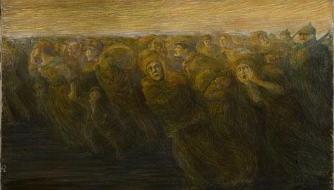 Gaetano Previati Gli orrori della guerra L'esodo 1917 olio su tela 585x790mm