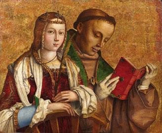 Francesco Zaganelli (1470 ca.-1532 ca.), Santa Caterina d'Alessandria e San Ludovico da Tolosa, olio su tavola, cm 55,3 x 66,7