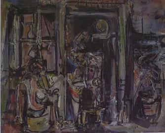 Emilio Vedova, La casa del pescatore (Burano), 1946, olio su carta, 50x60 cm