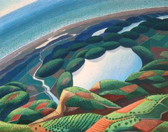 Virata su fiumi, lago, mare (già Laghi monti-Virata-Virage- virata sul litorale)  1934 tempera su tavola - tempera on wood cm 60 x 70