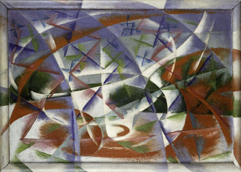 Giacomo Balla, Abstract Speed + Sound (Velocità astratta + rumore), 1913–14 Oil on millboard (unvarnished) in artist's painted frame, 54.5 x 76.5 cm The Solomon R. Guggenheim Foundation, Peggy Guggenheim Collection, Venice 76.2553.31 © 2013 Artists Rights Society (ARS), New York / SIAE, Rome Photo: Courtesy Solomon R. Guggenheim Foundation, New York