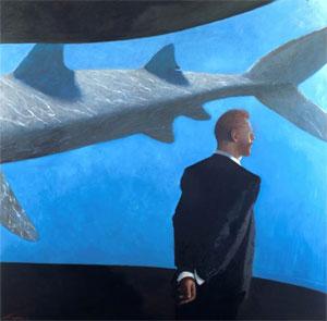 Julio-Larraz, His Last Dream, 2007, Olio su tela, 183x183cm (Galleria d'Arte Contini)