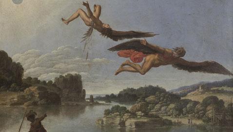 Carlo Saraceni, (Venezia, 1579 circa-1620), Caduta di Icaro, 1605-1608 circa, olio su rame, cm. 40x52,5, Napoli, Museo Nazionale di Capodimonte, (particolare)
