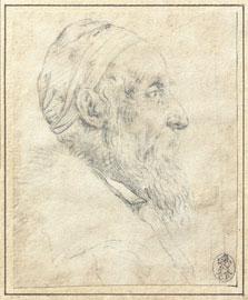 Tiziano Vecellio, (Pieve di Cadore, 1495 ca. - Venezia 1576), Autoritratto, 1570 ca., Gessetto nero su carta avorio, 120 x 99 mm, Collezione privata, U.S.A.