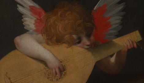 Rosso Fiorentino (Giovan Battista di Jacopo) (Firenze 1494-Fontainebleau 1540), Angiolino musicante, 1521, olio su tavola, cm 39,5 x 47, Firenze, Galleria degli Uffizi, inv. 1890 n. 1505