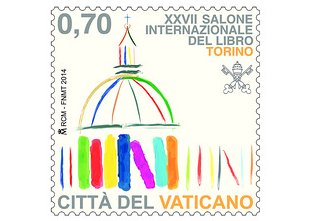 Francobollo commemorativo partecipazione Santa Sede al Salone del Libro di Torino © Church and Cultures